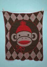 SOCK MONKEY ARGYLE Jr. THROWMade in USA Baby Blanket