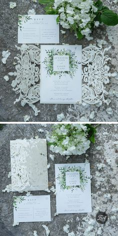 Ivory and greenery laser cut wedding invitations #EWI #weddinginvitations #greeneryweddingideas