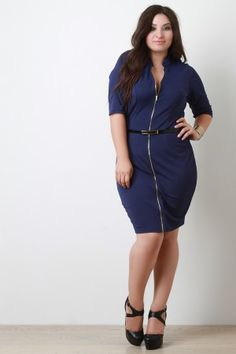 Shop Belted Plus Size Belted Front Zipper Bodycon Dress! This plus size short sleeved dress is curve hugging with an adjustable v-neckline, due to the full front zipper. Bodycon Dress With Sleeves, Short Sleeve Dresses, Dresses With Sleeves, Trendy Outfits, Trendy Fashion, Fashion Outfits, Cute Dresses, Dresses For Work, Plus Size Belts