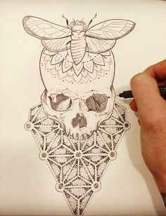 Skull And Moth Tattoo Design Kunst Tattoos, Skull Tattoos, Life Tattoos, Tattoo Drawings, Body Art Tattoos, Neck Tattoos, Tatoos, Sternum Tattoo, Mandala Tattoo