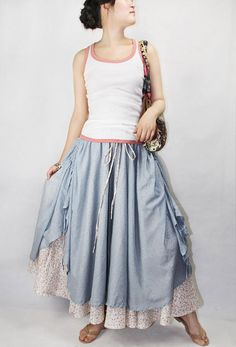 Cute skirt, 2 layers  idea....I'd use almost sheer fabric for the under skirt