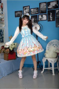 Oirginal sweet blue/pink lolita jumper dress, normal waist, featuring details oriented clock bunny prints, bows and lace trim, makes you look very sweet.