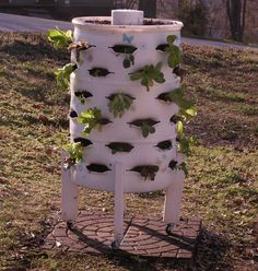 Here's how to make a cheap and cheerful vertical garden that will work in almost any space. And if you put wheels on it, it becomes a movable vertical garden. You'll need these materials: 55-gallon Plastic Drum Barrel 6-inch Schedule 40 PVC Pipe Another 6-inch PVC Pipe (lighter duty) Permanent Marker Flexible Plastic Ruler 2 x 4 Timber Test Plugs Timber Legs 2-1/2' Bolts, Nuts and Washer And these tools: Sawzall Drill Jigsaw, with regular multi-purpose blade Butter Knife Torc...