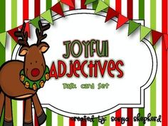 This mini set is part of my Christmas ELA task card bundle.  This set includes 16 task cards that focus on students identifying adjectives in sentences.  I've included 16 color adjective task cards, recording sheet and answer key for you to use in your classroom.