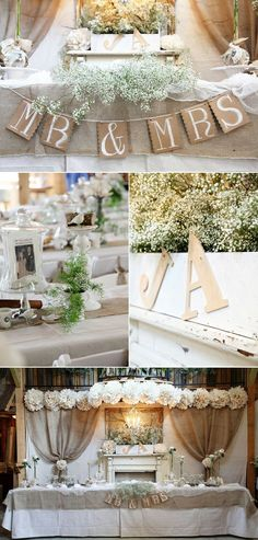 love the neutral colors  and pom poms for this reception head table.