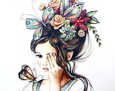 Items similar to female empowerment, art print ,woman artwork, portrait artwork ,claudia tremblay flowers in her hair. on Etsy Claudia Tremblay, Hair Illustration, Balloon Illustration, Illustration Pictures, Landscape Illustration, Hair Painting, Painting Flowers, Vintage Roses, Vintage Hair