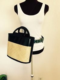 Earth Friendly Recycled Hand Woven Tote Bag with Bamboo Handles