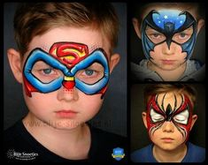 Simple face painting designs are not hard. Many people think that in order to have a great face painting creation, they have to use complex designs, rather then simple face painting designs. Superman Face Painting, Batman Face Paint, Spiderman Face, Mime Face Paint, Face Painting For Boys, Body Painting, Face Painting Halloween Kids, Spiderman Makeup, Face Painting Tutorials