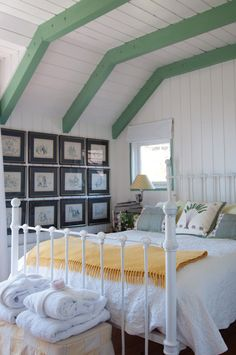 pop of green on the beams