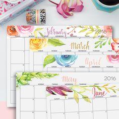 2016 Watercolor Printable Calendar, Beautiful Floral Calendar for 2016