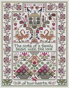 LONG DOG SAMPLERS Paradigm Lost sampler cross stitch pattern at thecottageneedle.com monochromatic Celtic Scandinavian by thecottageneedle