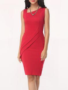 Asymmetric Neck Split Plain Bodycon Dress