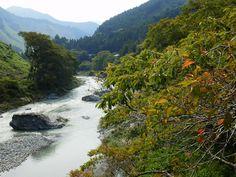 TAMA river(Japanese, 多摩川) in Ome-shi, Tokyo, Japan in September 2013.