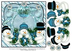 Snowman Joy Card Topper Decoupage on Craftsuprint designed by Barbara Hiebert - This is a snowman's joy card topper with Decoupage Snowman.The greenery that the snowman are holding says, JOY - Now available for download!