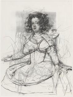 Jenny Saville | Study for Pentimenti V (Velazquez, Picasso, de Kooning), 2011, Charcoal on paper, 91 x 70-5/8 inches