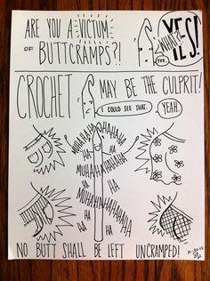 "Buttcramps! | Victum craft yarn hook handmade comic drawing ""obey crochet"""
