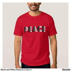 "Black and White Peace Tee Shirt. Spread some peace with this shirt that features the word ""PEACE"" with white and black integrated in each letter to create a unique font. A way to express hope for unity and harmony."