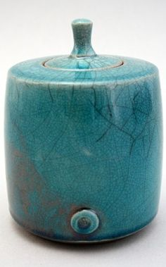Blue ceramic turquoise vessel art  by CHRIS HAWKINS |  Raku UK Potter