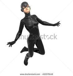 one young girl in a tight black super suit. Is in a flying pose. The face directed to the camera. Pose Reference Photo, Drawing Reference Poses, Art Reference, Expression Sheet, Draw The Squad, 3d Rendering, Royalty Free Images, Anatomy, Character Design
