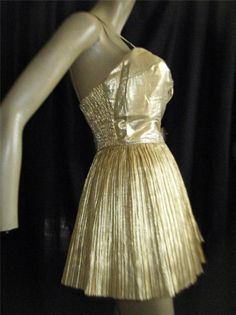 35d6dab2e6c 1950s Iconic Gold lame  Pleated Skirt Alix of Miami Bombshell Playsuit- B39  w29