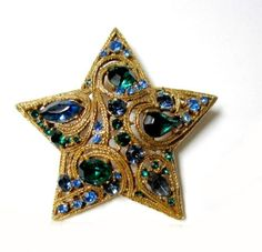 Star Rhinestone Brooch Braided Gold Pin Vintage Unsigned La Roco Green Blue  This design is attributed to La Roco (Layko, Ross & Co., of Seattle,