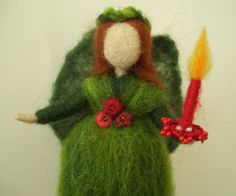 Christmas Fairy with Wreath Needle Felted Holiday by careybrett