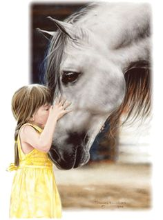 Painting....little girl and white horse
