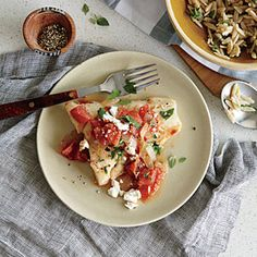 Baked Cod with Feta and Tomatoes Recipe | Cooking Light #myplate #protein #veggies #dairy #fruit