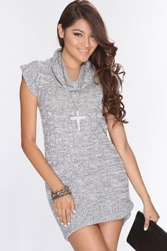 Grey White Knitted Short Sleeve Sweater Dress