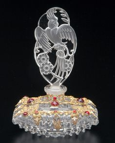 CZECH Perfume bottle in clear crystal with red jeweled filigree metalwork
