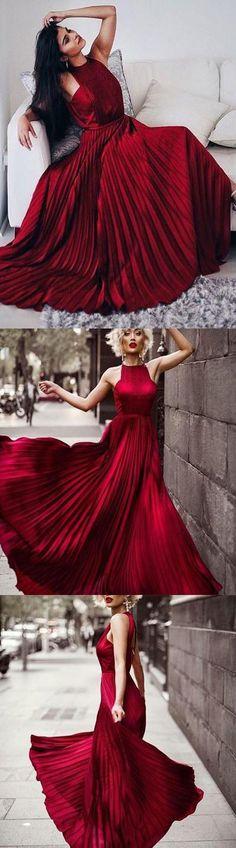 Stylish A-Line Halter Burgundy Chiffon Long Prom/Evening Dress with Ruffles B0735