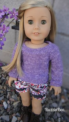 Purple Knit Sweater and Denim Floral by BuzzinBea on Etsy, $26.00