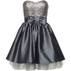 Elise Ryan Silver Sequin Bow Prom Dress ($40) ❤ liked on Polyvore
