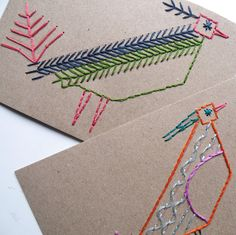 Kids learn embroidery stitches with stitch cards you make.