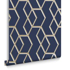 Archetype Navy & Gold Wallpaper to line the back of the bookshelves Blue And Gold Wallpaper, Copper Wallpaper, Metallic Wallpaper, Home Wallpaper, Navy Bedroom Wallpaper, Navy Gold Bedroom, Wallpaper Decor, Bathroom Wallpaper, Wallpaper Ideas
