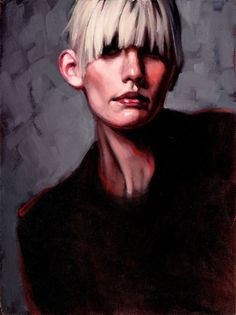 """Oil Painting Portrait Woman Blonde-Gray"" - Katherine Frasier {contemporary figurative artist mature female head starkly lit face sold painting}"