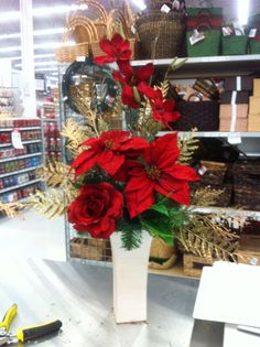 Red Christmas floral by kristy@michaels