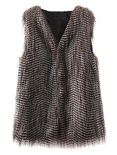 Choies Women Faux Fur Peacock Stripe... $27.99 #bestseller