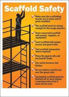 Construction Safety Posters – Safety Poster Shop – Page 8 Office Safety, Workplace Safety Tips, Health And Safety Poster, Safety Posters, Safety Slogans, Safety Rules, Construction Safety Topics, Scaffolding Safety, Safety Pictures