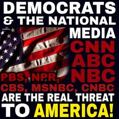Libtards have it backwards. President Trump is not a threat to America. The Democrats and the national fake news media, CNN, ABC, NBC, PBS, NPR, CBS, MSNBC, and CNBC are the real threat to America! A public service announcement from SEA RAVEN PRESS: Patriotic Pro-South Books and Gifts! www.SeaRavenPress.com