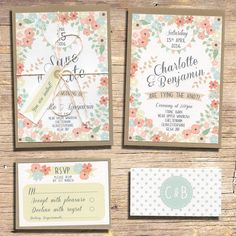 Country Floral Wedding Invitation 25 Rustic par papertreemedia