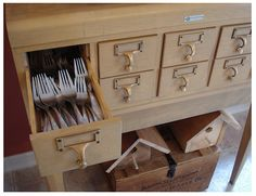 Several amazing ideas for how to makeover a card catalog.    Card catalogs can be purchased at the UW SWAP Shop in Verona, WI