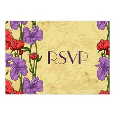 "Red and Purple Floral Design RSVP Card 3.5"" X 5"" Invitation Card"