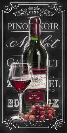 Chalkboard Sign Vin Rouge by Chad Barrett Vintage Wine, Vintage Labels, Retro Vintage, Vintage Ideas, Chad Barrett, Foto Transfer, Wine Signs, Wine Decor, Wine Art