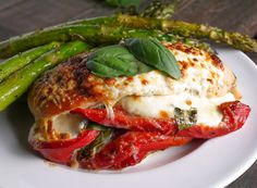 Roasted Red Pepper, Mozzarella and Basil Stuffed Chicken Recipe Main Dishes with boneless skinless chicken breasts, fresh mozzarella, roasted red peppers, basil, grated parmesan cheese, italian seasoning, pepper, salt