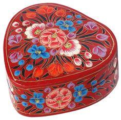 """Flowery Treasures – #Buy #Wholesale #Handmade #HeartShaped 4"""" #PapierMache #JewelryBox/ #TrinketBox/ #Keepsake with Colorful Flowers on Red"""