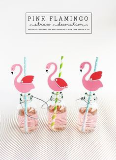 FREE Printable Pink Flamingo Straw Decorations