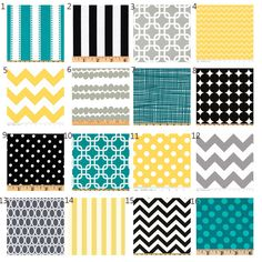 Etsy Custom Crib bedding - Yellow, Black. Turquoise and Grey baby bedding