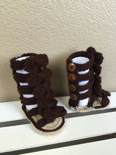 Crochet Tall Gladiator Bow Sandals Bow by OurFaithfulCreations Baby Girl Sandals, Crochet Baby Sandals, Baby Girl Crochet, Crochet Baby Clothes, Newborn Crochet, Crochet Shoes, Crochet Slippers, Knit Or Crochet, Cute Crochet