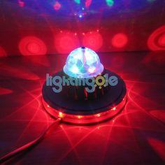 Mini UFO RGB LED Crystal Rotating Stage Light Lamp Black - Stage Lighting - Lightingole.com